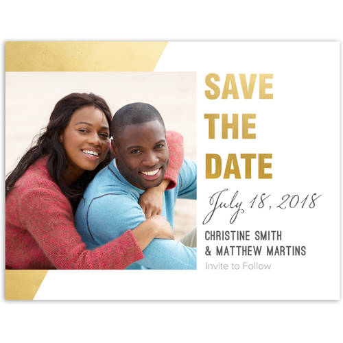 Gilded Geometric Wedding Save the Date Postcard