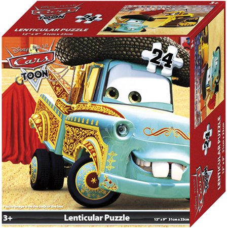disney pixar cars lenticular puzzle 24 piece lightning mcqueen mater 12 x 9. Black Bedroom Furniture Sets. Home Design Ideas