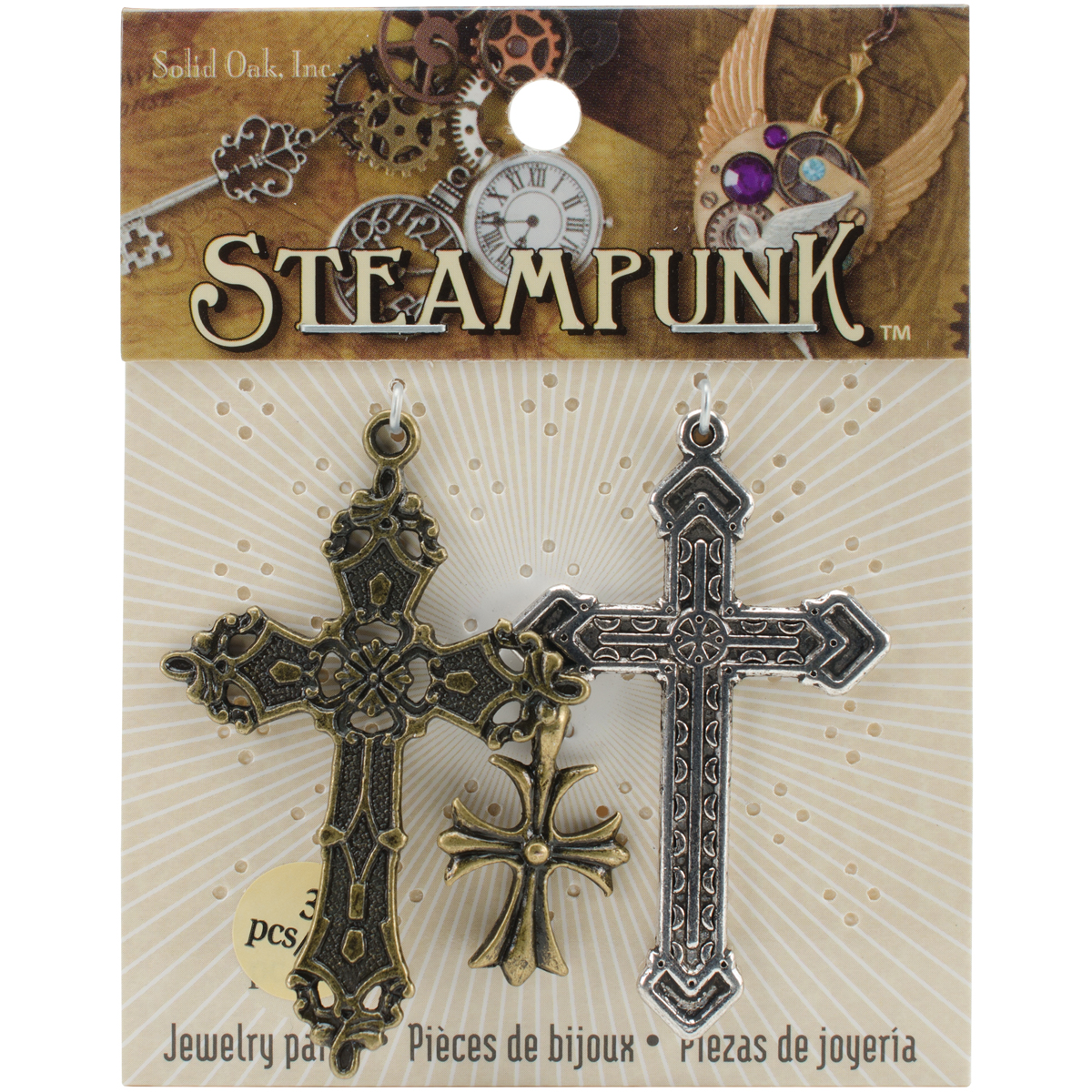 Steampunk Metal Accents 3pk, Crosses