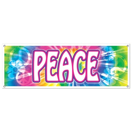 "Club Pack of 12 Bright Tie-Dyed Retro 60's ""Peace"" Sign Banner Hanging Party Decorations 5'"