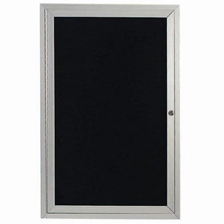 Aarco Products OADC2418 1-Door Outdoor Enclosed Directory Cabinet - Clear Satin Anodized