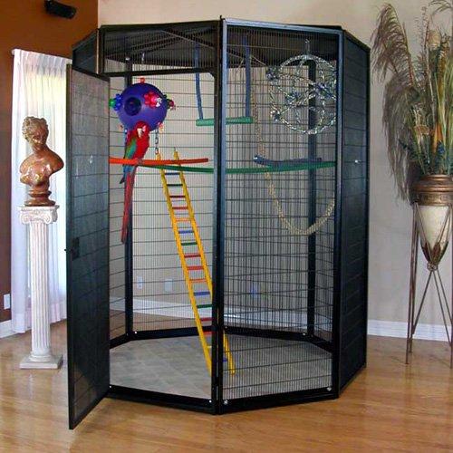 6 ft. Diameter Indoor Aviary-12 Gauge Wire with .5 x 4 Inch Spacing-Black Jewel