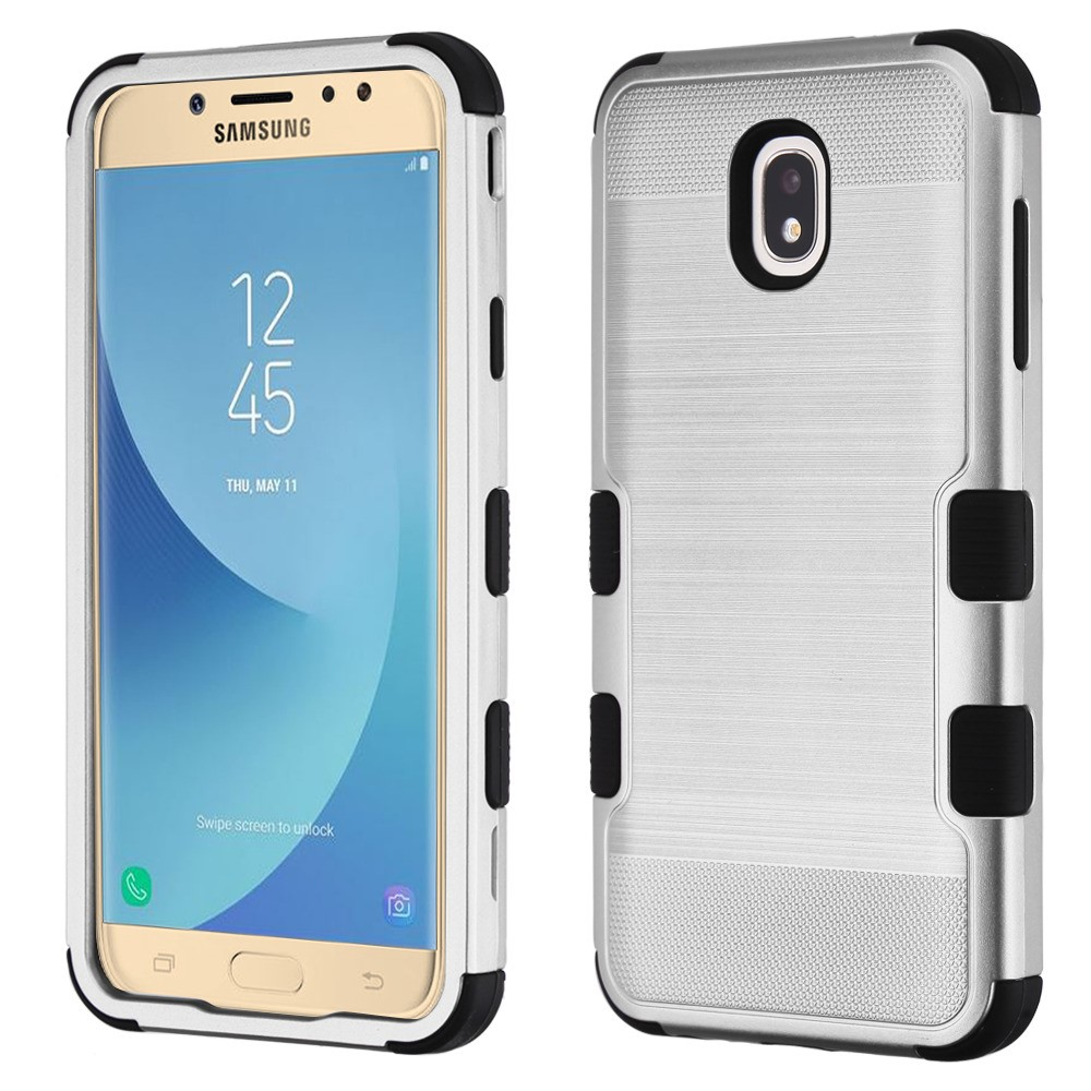 TUFF Hybrid Series Military Grade Certified Brushed Metal Slate Finish Phone Protector Cover Case and Atom Cloth for Samsung Galaxy J7/J7 V 2nd Gen 2018 - Silver/Black