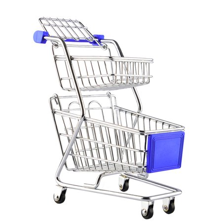 Creative Novelty Gift Double-deck Mini Supermarket Shopping Cart Storage Box - Blue (Novelties Store)