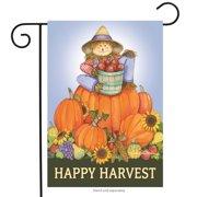 "harvest scarecrow autumn garden flag pumpkin stack autumn sunflowers 12.5"" x 18"""