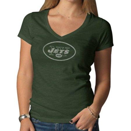 New York Jets 47 Brand Women Green V-Neck Short Sleeve Scrum T-Shirt by