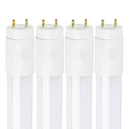 Pack of 4 Luxrite LED 2FT Tube Light, 12W (17W Equivalent), 3000K Soft White, T8 Shape, Universal Direct or Bypass, Shatter Resistant, 1100 Lumens, Damp Rated, ETL Listed, G13 Base, (3000k 4 Pin Twin Tube)