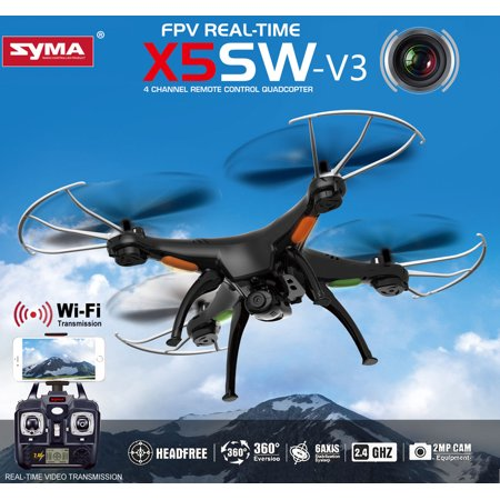 Syma X5SW-V3 FPV 2.4Ghz 4CH 6-Axis Gyro RC Quadcopter UFO Headless Mode with HD Camera Support IOS Android RTF (Black)
