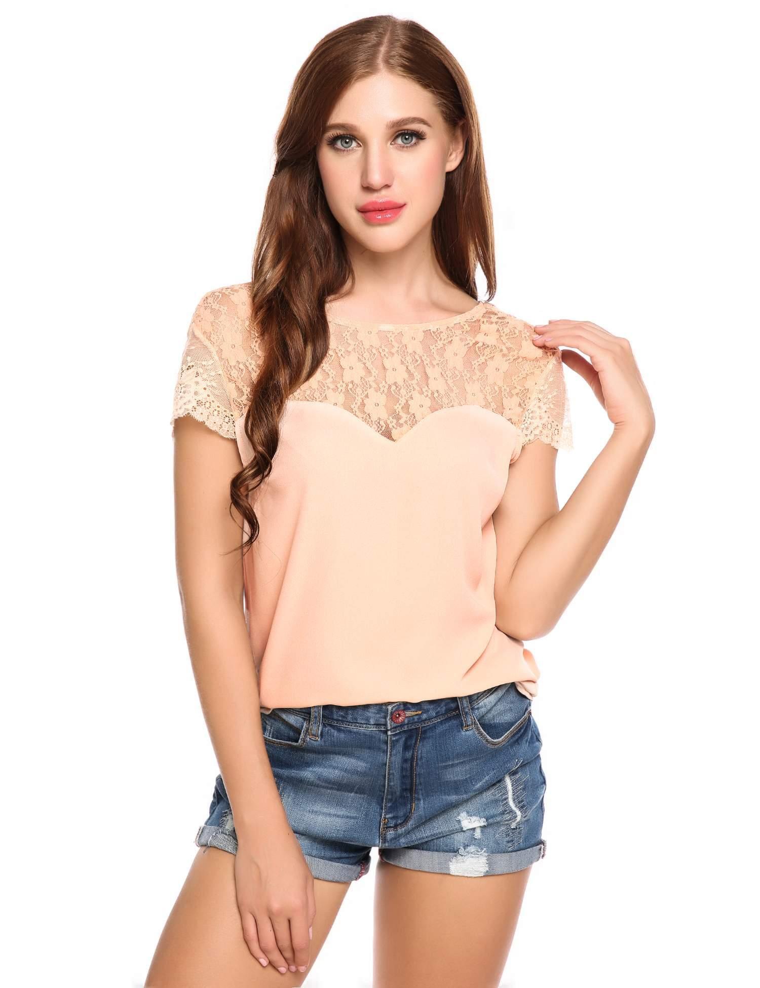 3f5a81b260f3a Women V-Back Cap Sleeve Floral Lace Chiffon Casual Blouse HFON - Walmart.com