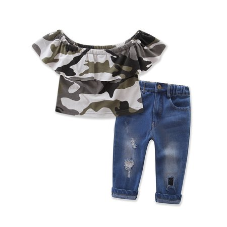 StylesILove Little Girl Camouflage Off Shoulder Top and Jeans 2 pcs Outfit Set (7) for $<!---->