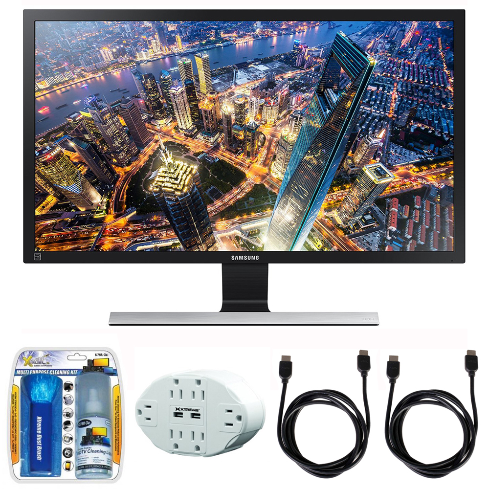 "Samsung 28"" UHD LED-Lit Monitor (LU28E590DS/ZA) with 2x General Brand HDMI to HDMI Cable 6', Xtreme 6 Outlet Wall Tap w/ 2 USB Ports White & Xtreme Performance TV/LCD Screen Cleaning Kit"