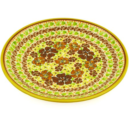 Polish Pottery 7½-inch Dessert Plate (Fall Flowers Theme) Signature UNIKAT Hand Painted in Boleslawiec, Poland + Certificate of Authenticity 2 Hand Painted Plates