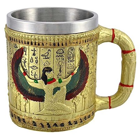 Egyptian Theme Golden Winged Isis Motherhood and Magic Goddess Beer Stein Tankard Coffee Cup Mug Great Gift For Ancient Egyptian Culture Lovers School Classroom Decor Office Desktop Accessory - Egyptian Gifts