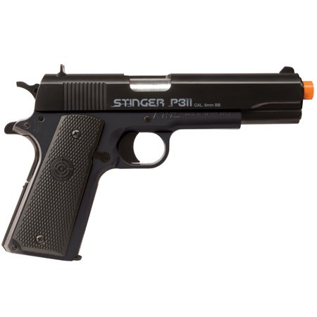 Black Semi Automatic Gun - Crosman Elite Stinger ASP311B Airsoft pistol 325 FPS black Spring power