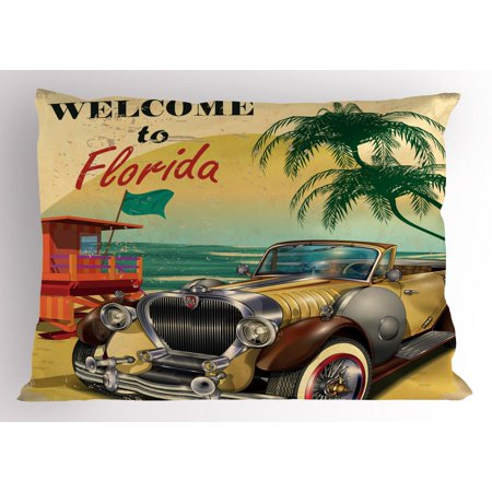 Florida Pillow Sham, Old Beach Picture with Vintage American Car a Visit to Touristic Coastal State, Decorative Standard Queen Size Printed Pillowcase, 30 X 20 Inches, Multicolor, by (Best Beaches In America To Visit)