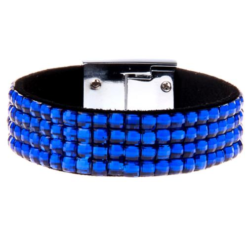 Blue 4 Row Crystal Rhinestone Bracelet with Heart Clasp