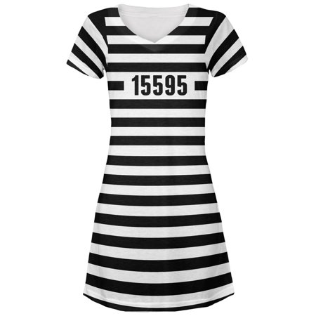 Halloween Prisoner Old Time Striped Costume Juniors V-Neck Beach Cover-Up Dress