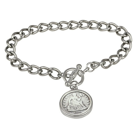 Silver Seated Liberty Dime Silvertone Coin Toggle Bracelet