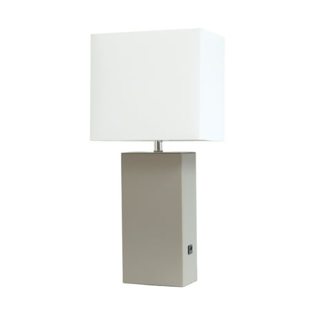 Elegant Designs Modern Leather Table Lamp with USB and White Fabric Shade, Grey