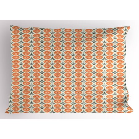 Tribal Totem (Tattoo Pillow Sham Traditional African and Polynesian Totem Symbols Tribal Mask Pattern, Decorative Standard Size Printed Pillowcase, 26 X 20 Inches, Orange Charcoal Grey Cream, by)