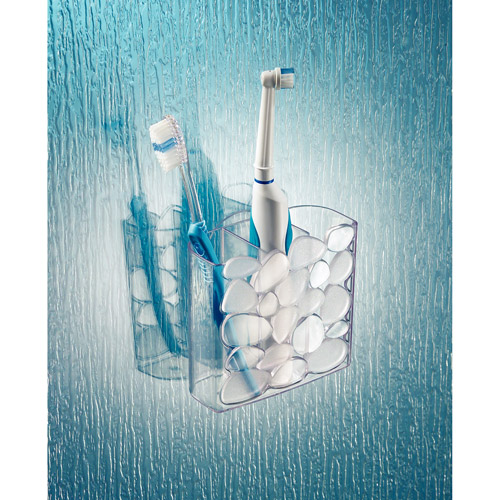 InterDesign Pebblz Suction Toothbrush Holder for Bathroom Mirror, Shower, Clear