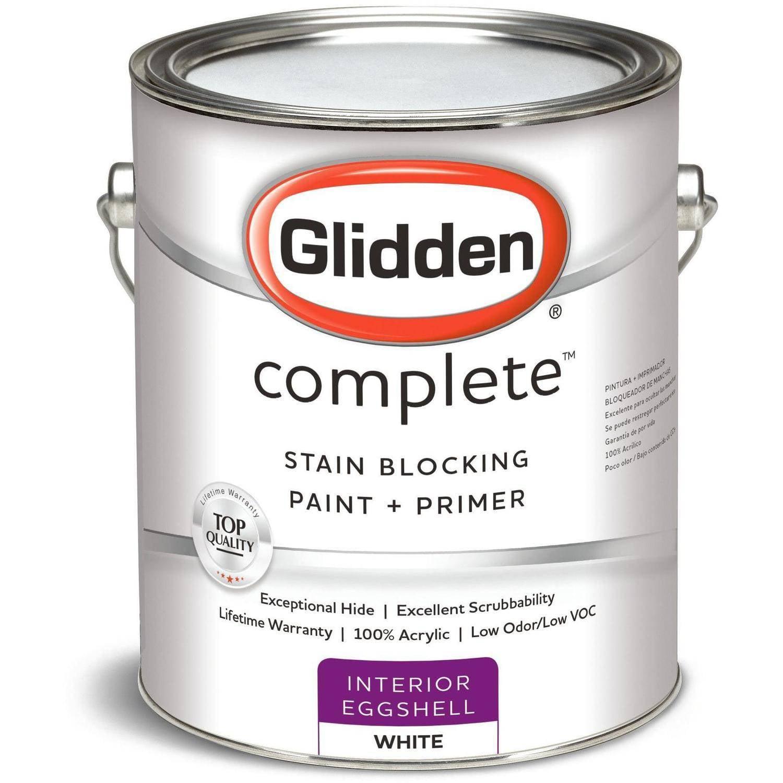 Glidden Complete, Interior Paint, Eggshell Finish, Ready Mix White, 1 Gallon