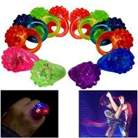 Dazzling Toys Flashing LED Light Up Toys, Bumpy Rings, 24 Pack