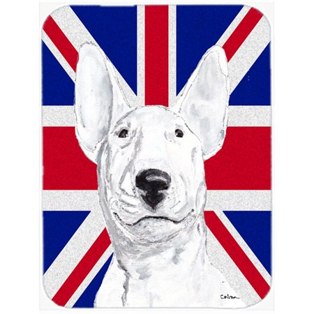 Caroline's Treasures Union Jack Bull Terrier with English British Flag Glass Cutting Board