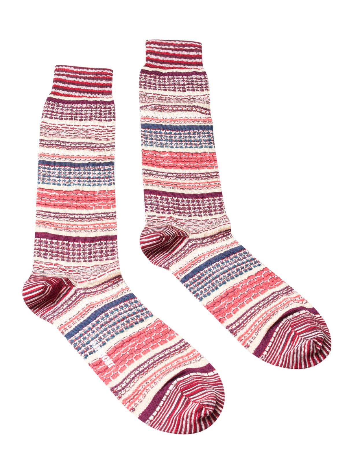 Missoni GM00CMU5439 0003 Orange/Maroon Mixed Stripe Knee Length Socks