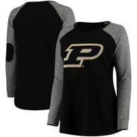 Purdue Boilermakers Women's Plus Size Preppy Elbow Patch Slub Long Sleeve T-Shirt - Black/Charcoal