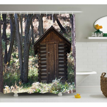 Outhouse Shower Curtain Wooden Primitive Life Barn Shed In Spring Forest Leaves Lumberjack Photo Fabric Bathroom Set With Hooks Dark Brown And Green