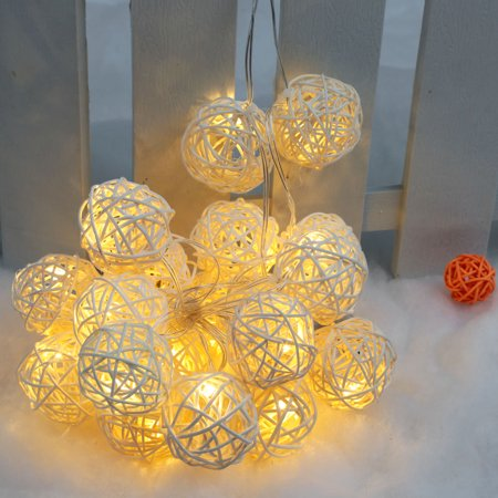lixada 21m 20 led garland rattan vine ball globe fairy string lights for party wedding