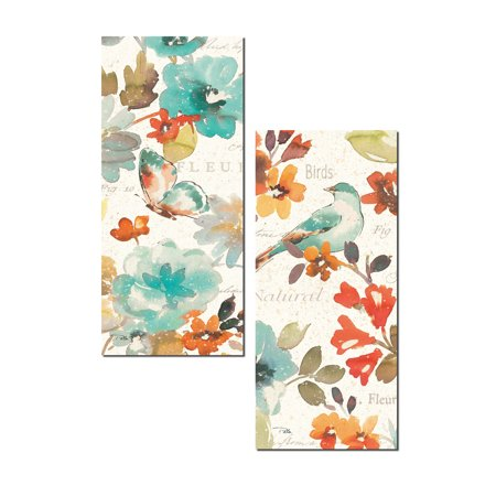 Beautiful Teal and Orange Watercolor-Style Floral, Butterfly and Bird Panel Set by Pela; Two 8x18in Paper Poster Prints Butterfly Framed Panel Print