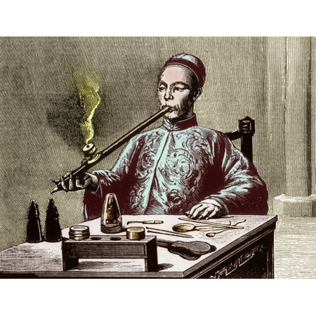 Opium Den Man with Opium Pipe 19th Century Rolled Canvas Art - Science Source (36 x 24)