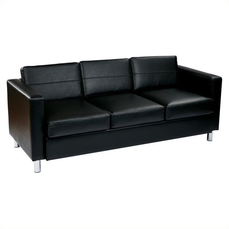 Click here to buy Ave Six Pacific Easy-Care Black Faux Leather Sofa Couch with Box Spring Seats and Silver Color Legs by Avenue Six.