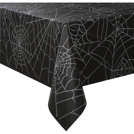 Spider Web Halloween Plastic Tablecloth, 108 x 54 in, Black, 1ct