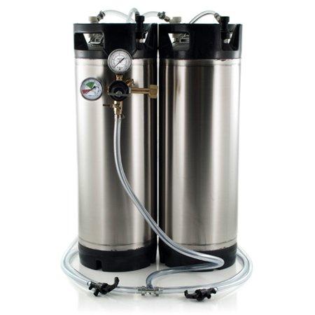 5 Gallon Ball Lock Keg System w/Picnic Faucets, Dual Gauge Regulator, 2 New AIH Cornelius Kegs (#5)