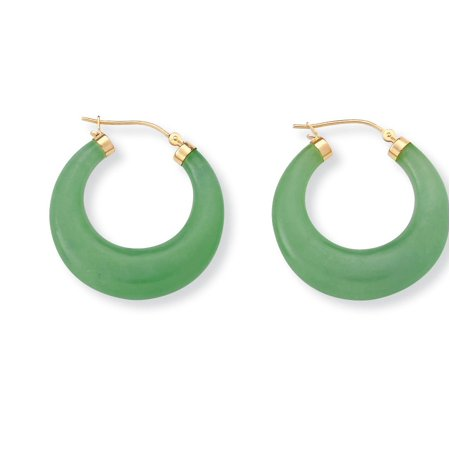 - Green Jade Hoop Earrings in 14k Gold over Sterling Silver (1