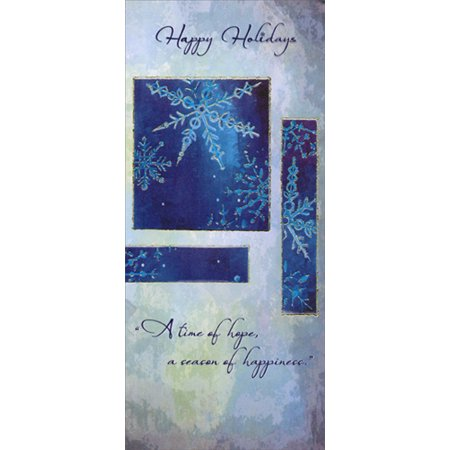 Designer Greetings Snowflakes on Blue and Gray 8 Christmas Money & Gift Card (Grey Christmas Card)