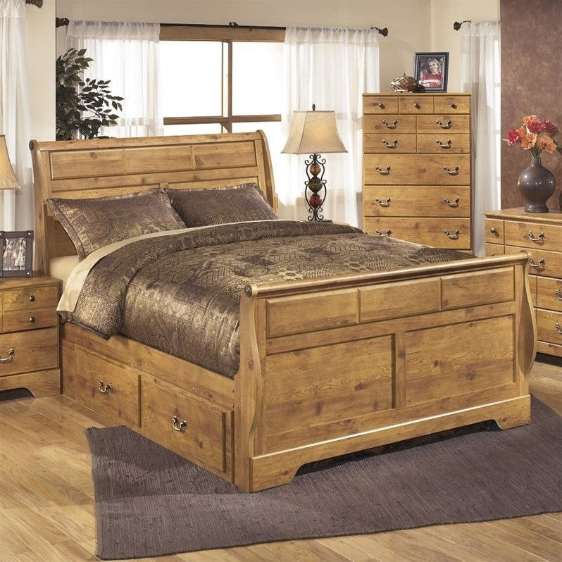 Ashley Bittersweet Wood King Drawer Sleigh Bed in Light Brown by Ashley Furniture