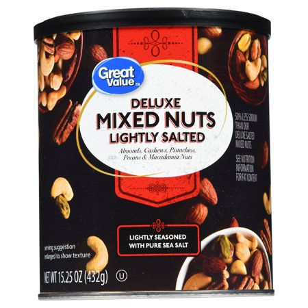 Great Value Roasted & Salted Deluxe Mixed Nuts, 15.25 oz