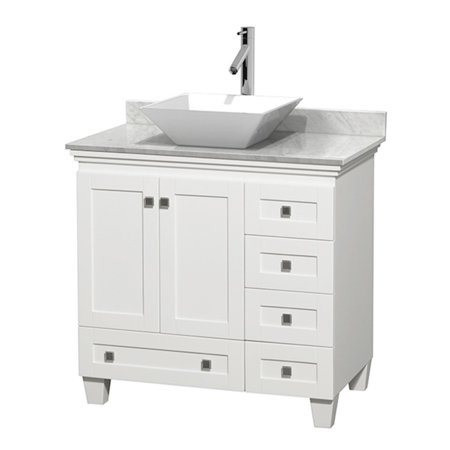 Wyndham Collection Acclaim 36 inch Single Bathroom Vanity in White, White Carrera Marble Countertop, Pyra White Porcelain Sink, and 24 inch