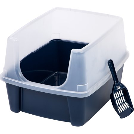 IRIS Litter Box with Shield and Scoop, Navy