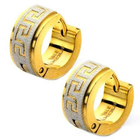 SSE8541 Greek Key Huggies Stainless Steel Earrings, IP Gold