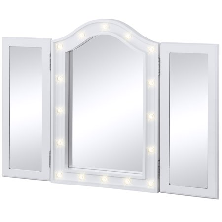 Southern Enterprises White Mirror (Best Choice Products Lighted Tabletop Tri-Fold Vanity Mirror Decor Accent for Bedroom, Bathroom w/ 16 LED Lights, Velvet-Lined Back - White )