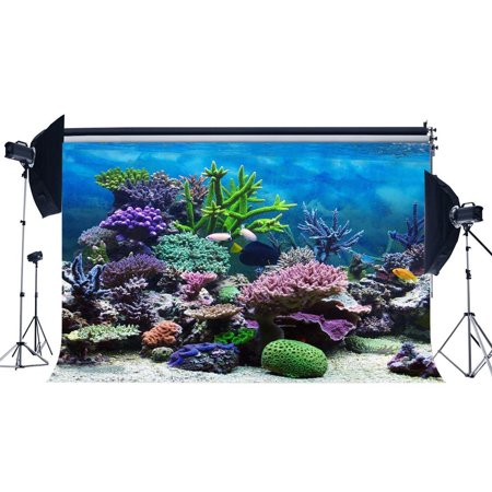 GreenDecor Polyster 7x5ft Underwater World Backdrop Aquarium Colorful Coral Fish Blue Sea Photography Background Baby Shower Boys Girls Happy First Birthday Party Decoration Photo Studio Props](Baby Boy First Birthday Decorations)