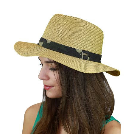 Nyfashion101 C Teardrop Dent Paper Woven Panama Sun Beach Hat With Camouflage Band Natural