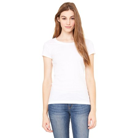 - Branded Bella + Canvas Ladies Sheer Jersey Short Sleeve T-Shirt - WHITE - M (Instant Saving 5% & more on min 2)