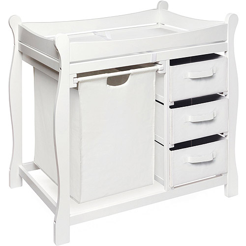 Badger Basket - Changing Table with Hamper and Baskets, White