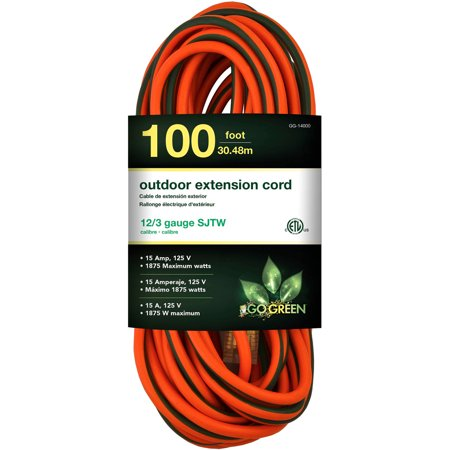 GoGreen Power 12/3 100' GG-14000 Heavy Duty Extension Cord, Lighted (Outdoor Power Cord)